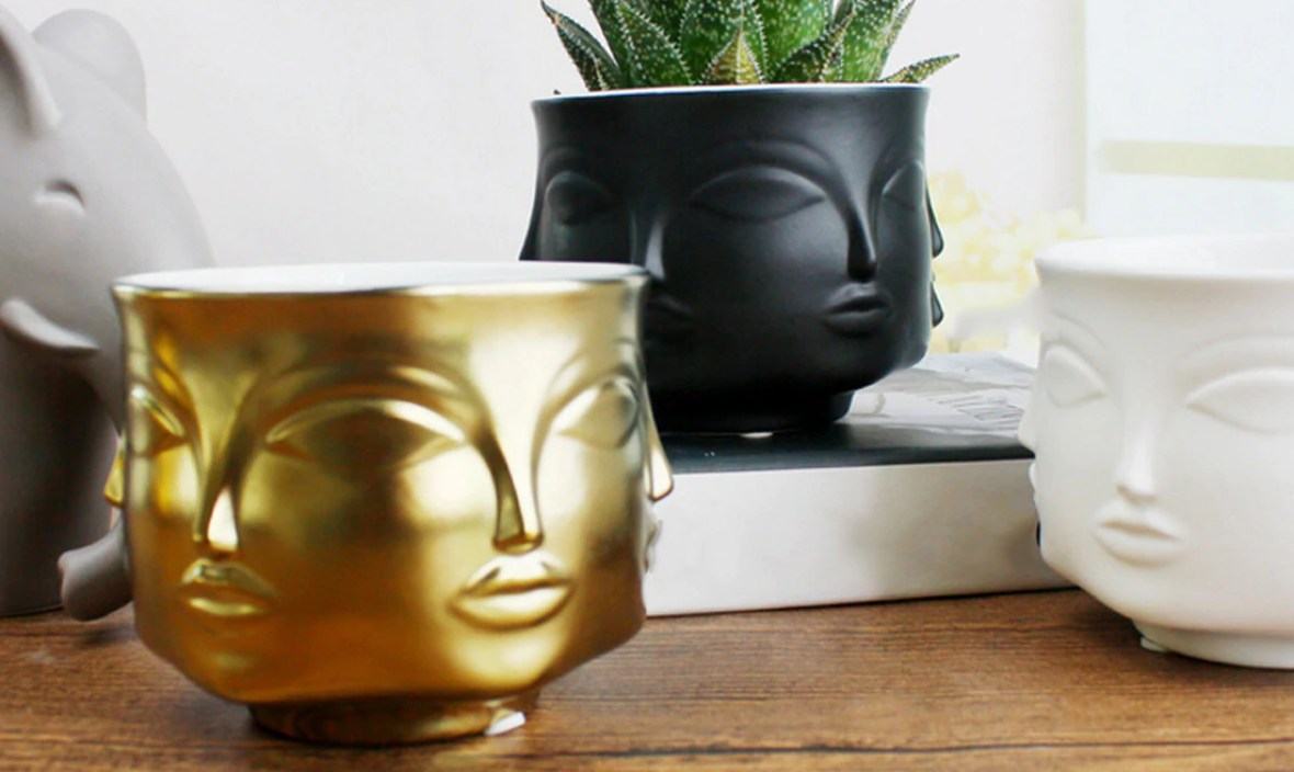 Face Shape Designs Ceramic Vase Porcelain Flower Pot Home Decoration Accessories Planters Golden Black Home Garden Decor