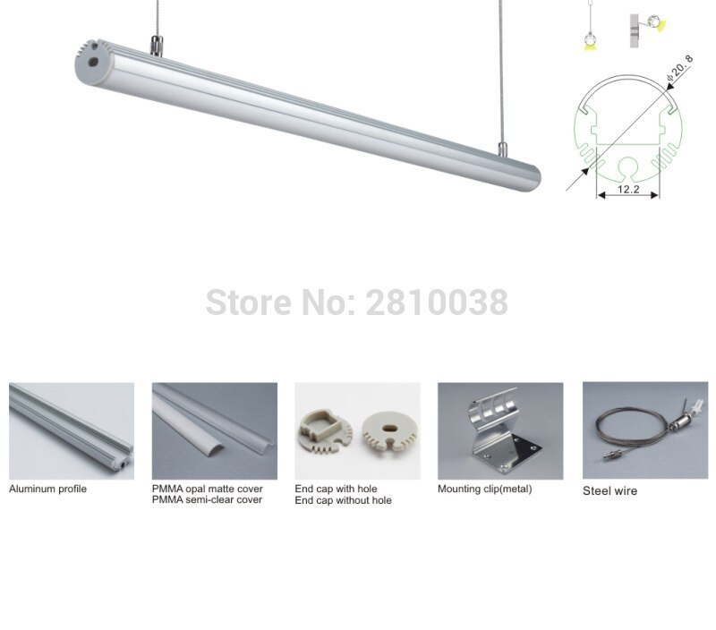 20 X 2M Sets/Lot Circular shape aluminum led channel and home design aluminum profile led kitchen light for suspending lamp