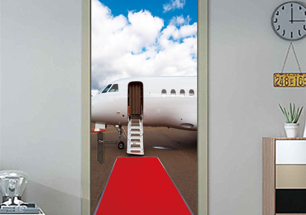 77*200cm Red Carpet Travel Plane PVC Waterproof Self Adhesive Door Sticker 3D Door Sticker For Bedroom Living Room Home Design
