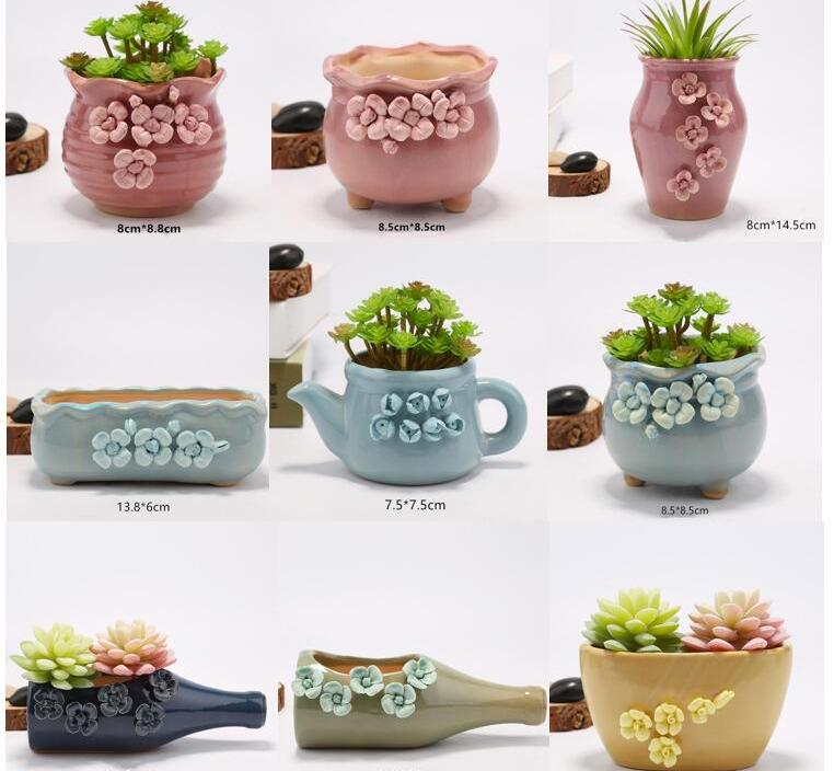 Colorful Ceramics House Plants Pot Succulents Flower Pot Office Desk Decoration Garden Pots Planters Home Design