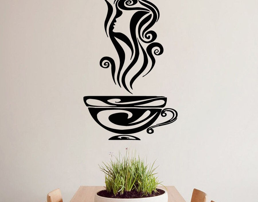Wall Decals Kitchen Coffee Cup Decal Vinyl Sticker Cafe Decor Home Design