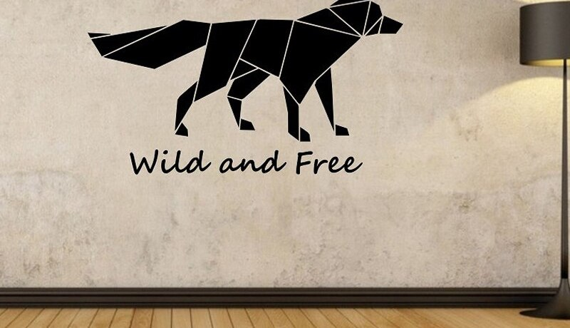 Origami Fox Wall Decal Wild and Free Quote Wall Sticker Bedroom Living Room Home Design Murals Geometric Wall Art Vinyl A384