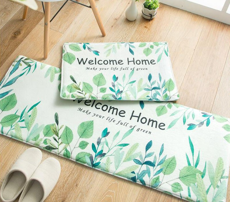 Fresh Green Leaves Welcome Home Design Rugs Anti-slip Doormats Carpet Bedroom Kitchen Washroom Floor Mat