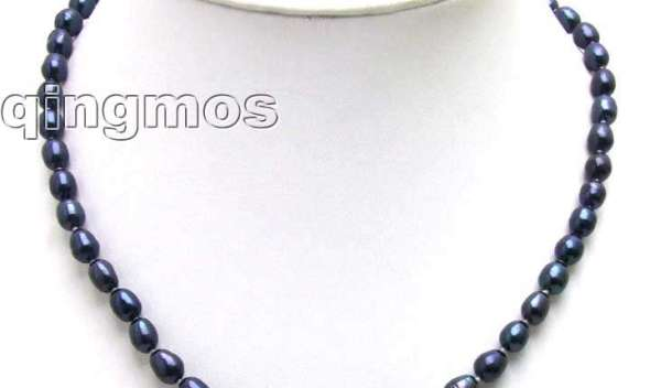 SALE Big 7-8MM Rice Natural BLACK Freshwater PEARL 17″ NECKLACE-5591 Whole sale and retail Free shipping