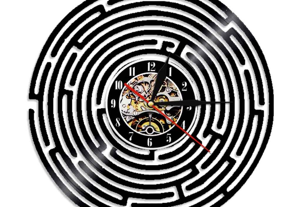 1Piece Labyrinth Art Vinyl Record Clock Wall Decor Home Design Vintage Handmade Minimalist Art Gift
