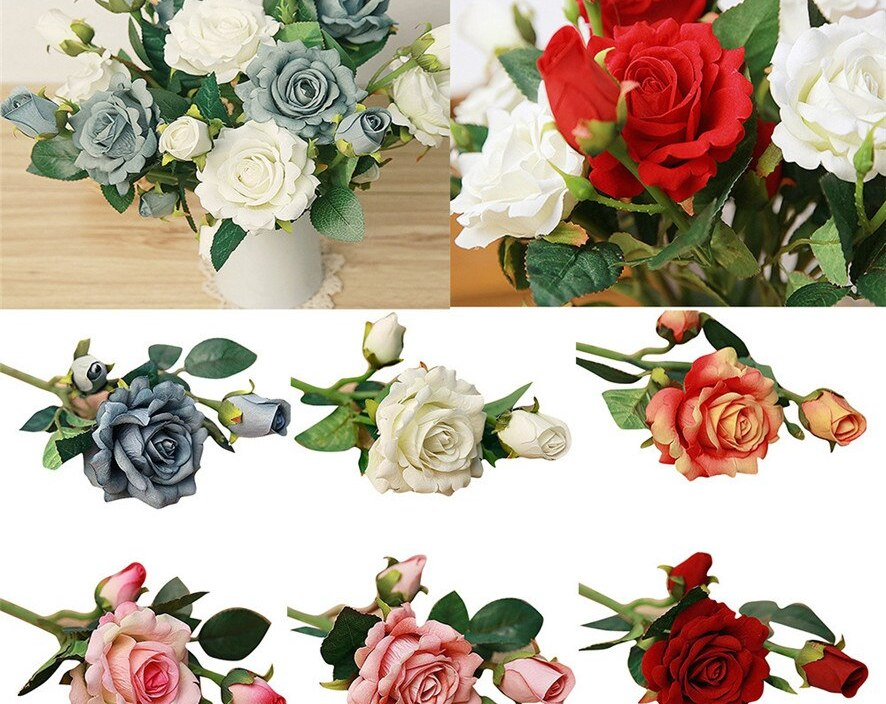 Zero 2017 New 5pcs Real Latex Touch Rose Flowers For wedding And Home Design Bouquet Decor Dropshipping B7728