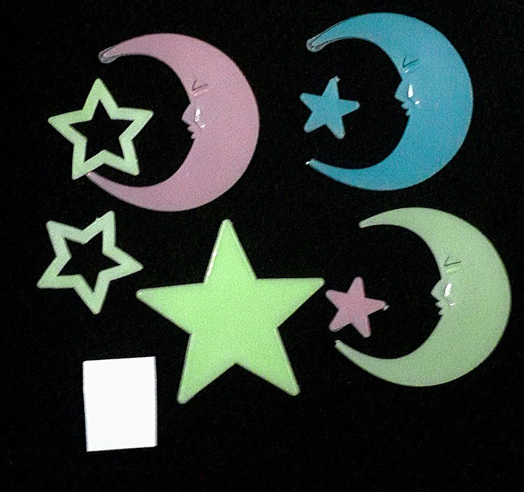 Luminous Wall Sticker Removable Plastic 3D Moon Stars Glow In The Dark Fluorescent Wall Stickers Home Design Decor
