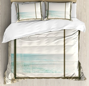 Beach Duvet Cover Set Apartment Scenery with Wavy Sea Ocean Coastal Home Design Arwork Decorative 4 Piece Bedding Set