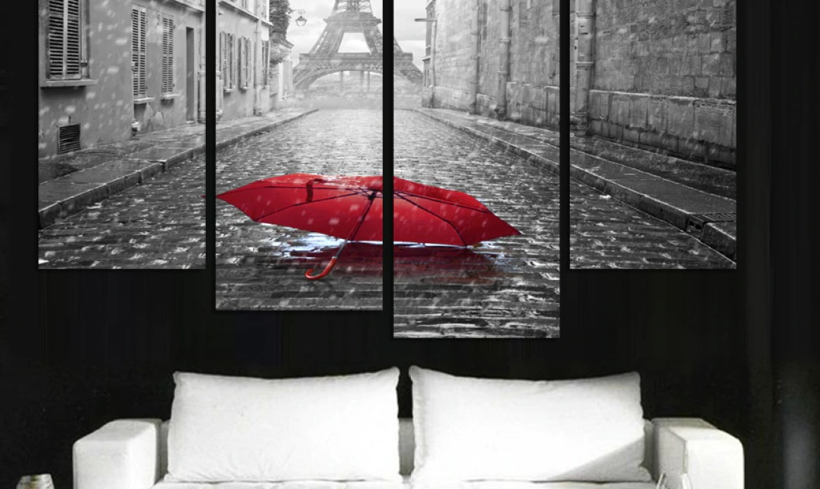 Fashion Home design Modern city scenery printed on canvas beautiful pictures oil paintings 4 Panel Unframed wall art pictures