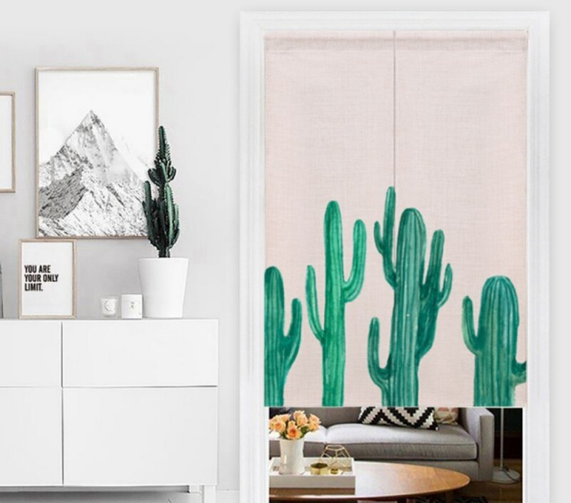 Tropical Plants Design Long Door Curtain For Home Living Room Japanese Style Home Decoration Doorway Curtains 85*120 CM