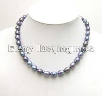 SALE Big 9-10MM Rice BLACK Natural Freshwater PEARL 17 NECKLACE-5350  whole sale and retail Free shipping