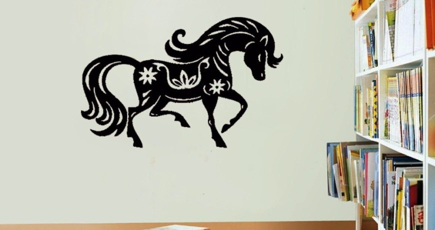 JOYRESIDE Animal Tail Wall Beauty Horse Decal Vinyl Sticker Nature Decor Home Design Art Bedroom Living Room Interior Mural A288