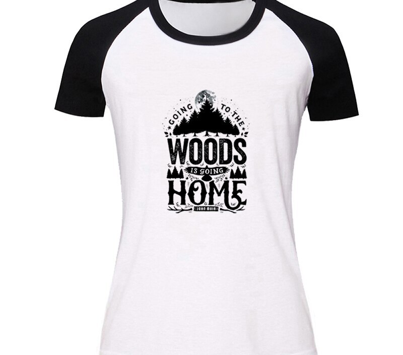 Watermelon Going o the woods is going home Design Womens Ladies Short Sleeve Printing T shirt Graphic Tee Shirt Cotton Tshirts