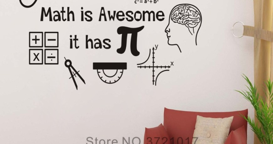JOYRESIDE Math Is Awesome Wall Decor Thinking Sticker Calculator Decals Vinyl Decorations Interior Home Design Art Murals A1205
