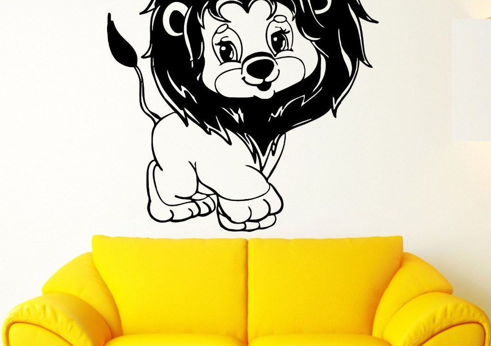 Art Cartoon Animal Wall Stickers Vinyl Decal Young Lion Nursery For Kids Room Waterproof Wallpaper Home Design Decal Hot   LA895