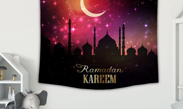 Ramadan Decoration 150*130cm Eid Mubarak Decor Backdrop Wall Tapestry Ramadan Mubarak Kareem Islamic Muslim Party Wall Cover
