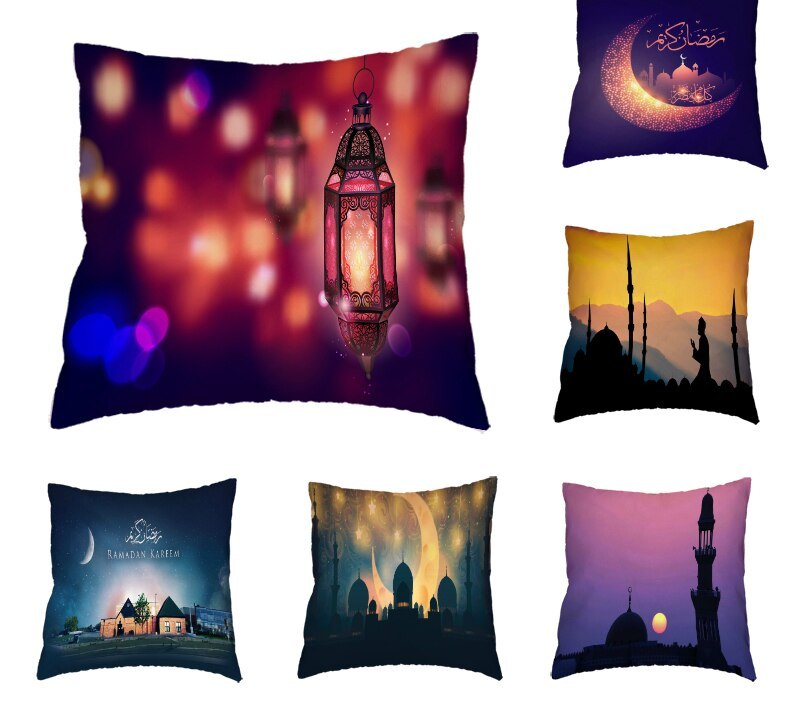 Ramadan Festival Decoration Mat Set Polyester Peach Moon Castle Pillowcase Decoration Muslim Ramadan Festival Gift Party Gift