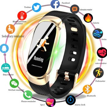 Smart Sport Watch IP67 Waterproof Band Blood oxygen heart rate blood pressure monitor Bluetooth Watches Smart Watches Women+BOX