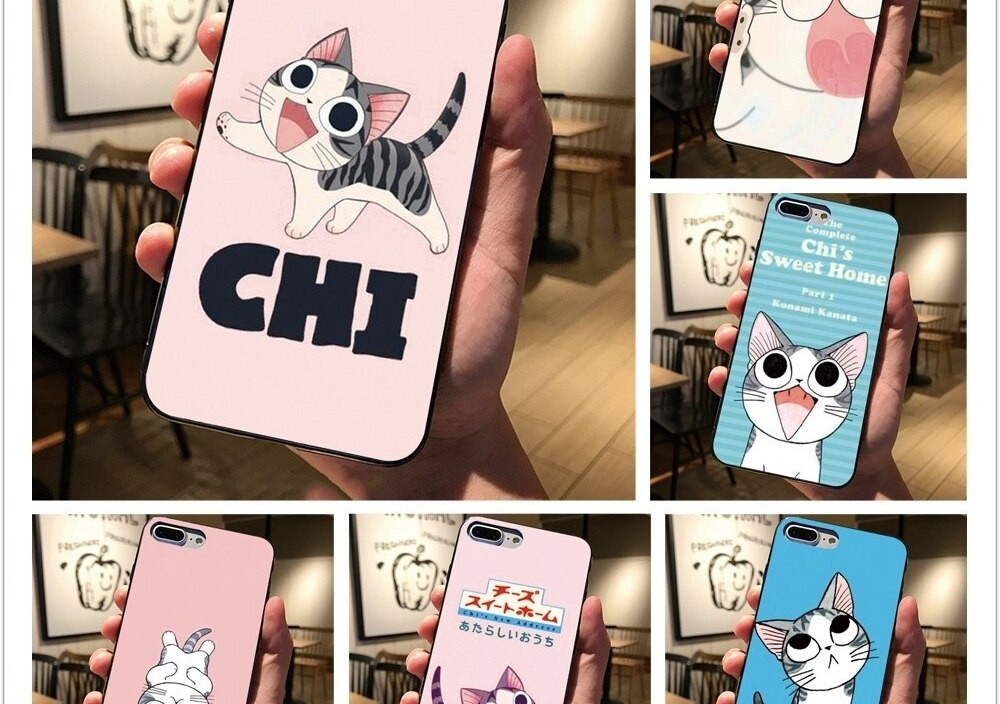 Chi's sweet home design Black cover For Samsung Galaxy S8 S9 Plus S7 edge Phone case For iphone 7 8 6 6S Plus 5 5S X