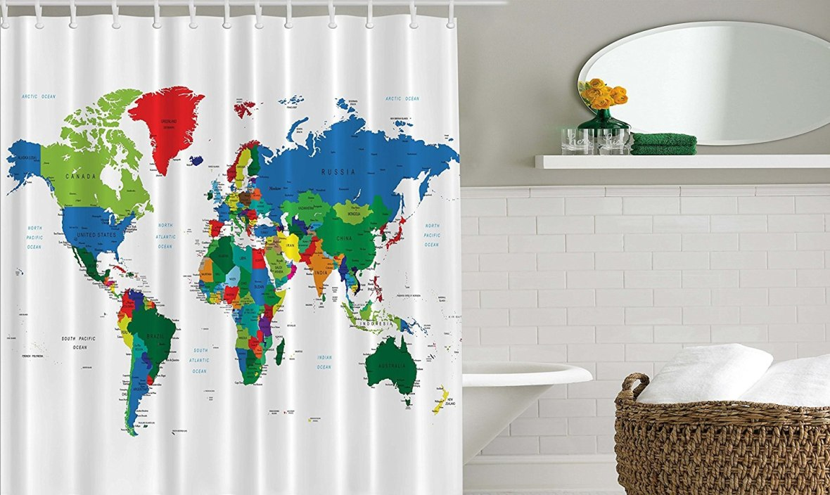 Memory Home World Map Shower Curtain Novelty Modern Home Designer Bath Accessories Fabric Shower Curtain Green Blue Red White