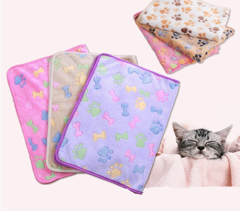 Sale 1PC Cartoon Pet Supplies Pet Blanket  For Dog Sleeping Bed Flannel Bed Cover Mat Star Print Fleece Warm