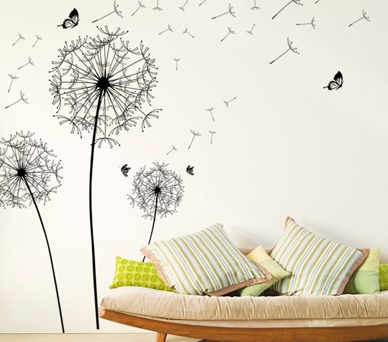 Diy black flying dandelion butterfly Wall Stickers plant decor Removable home design living room bedroom wallpaper decals