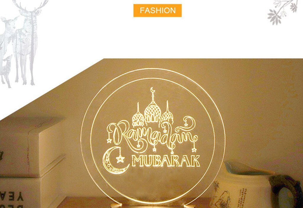 Ramadan MUBARAK Muslim Ramadan 3D Night Light Table Desk Lamp Light USB Bedroom Child Acryli Household LED lamp Hot Sale