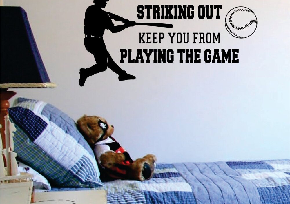 Baseball Never Let The Fear of Striking Out Decal Vinyl Wall Stickers Sports Wall Decal Decor Bedroom Home Design Art Mural A407