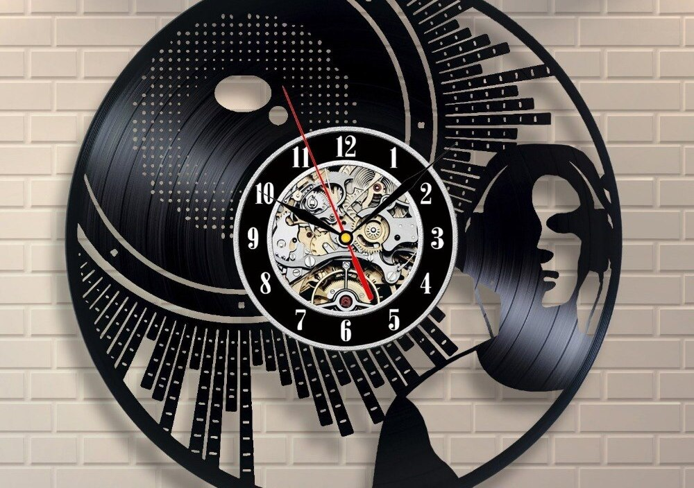 Dj Art Vinyl Record Clock Wall Decor Home Design Decoration Interior