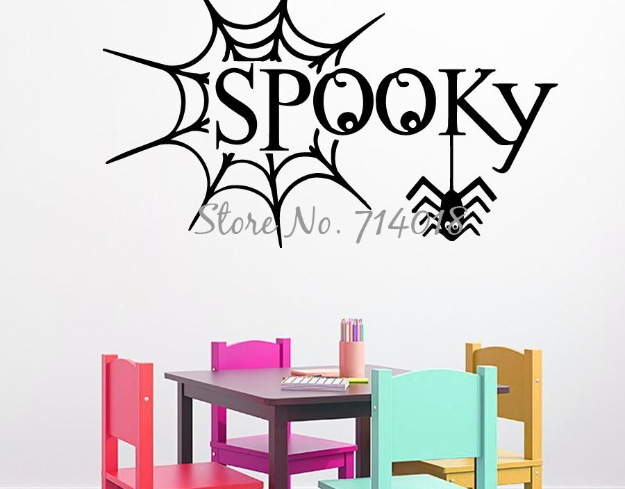 Happy Halloween Wall Decals Spider Web Decal Spooky Halloween Vinyl Sticker Home Design Art Mural Kids Play Room Decor A976