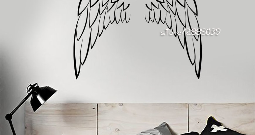 Angel Wings Vinyl Wall Stickers Decor Bedroom Decoration Sticker Nontoxic PVC Perfect Quality Wallpaper Home Design Mural  SA887