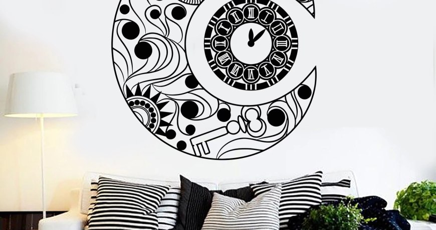 Moon Symbol Clock Wall Decal Crescent Dream Good Night Bedroom Art Home Design Decor Vinyl Window Stickers Retro Mural S1350