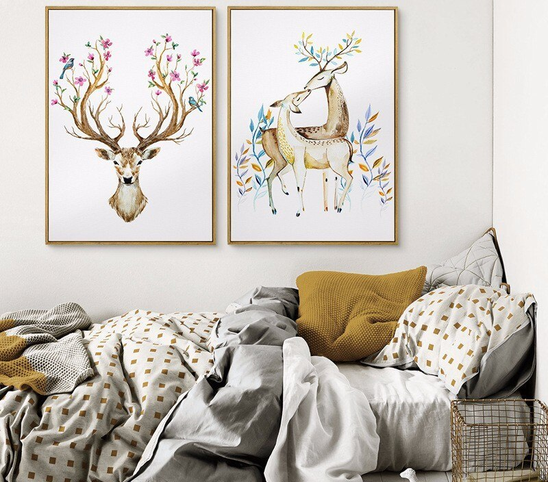 animal canvas printing reindeer with fantastic flower wreath and feathers on the horns love elegant nature artful home design