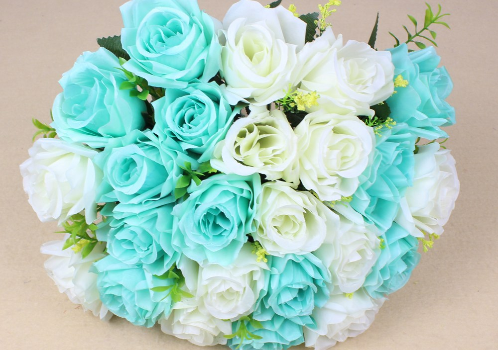High quality 24 pcs/bunch Artificial Rose Flowers For wedding Party Home Design Bouquet Decor Rose Flowers Party Supplies