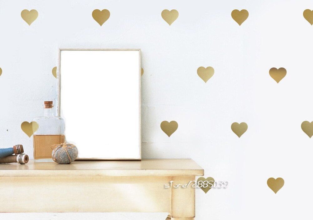 64pcs/set Heart Wall Stickers Gold Metallic Vinyl Wall Decals Decoration Kids Baby Room Removable Home Design Wallpaper  SA535