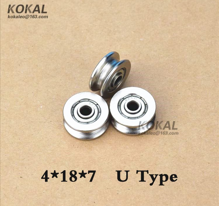 [U0418-7]NON-Standard 624ZZ inner ring width 8mm U groove type for medical instruments wheel pulley 4*18*7