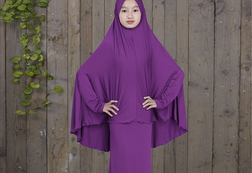 Ramadan Muslim Dress Hijab Abayas for Women Ramadan Arab Middle Eastern Teen Girl Solid Color Simple Dress Two-Piece Suit  4.13