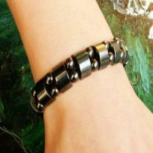 Weight Loss Round Black Stone Magnetic Therapy Bracelet For Women Men Health Care Magnetic Hematite Stretch Bracelets B3008
