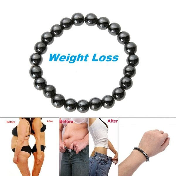Weight Loss Magnetic Hematite Round Beads Stretch Bracelet Health Care Therapy 8mm Anti-Fatigue Beads Bracelet B3031
