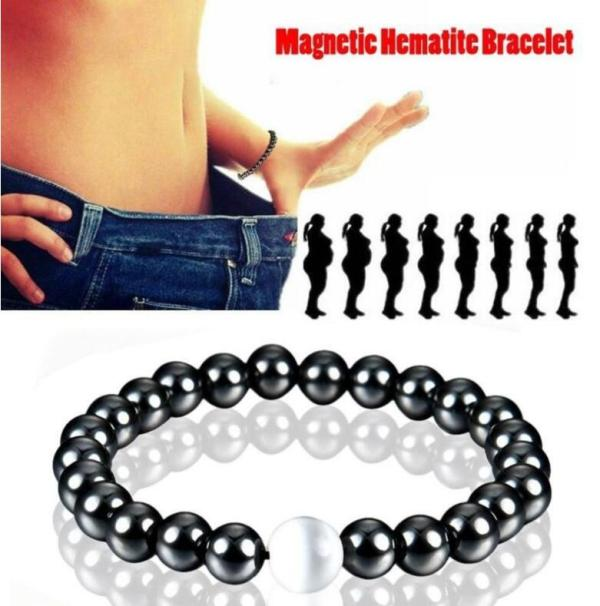 Weight Loss Magnetic Therapy Hematite Stretch Bracelet Beneficial to Health Anti-Fatigue Slimming Bracelet for Women Men B3034