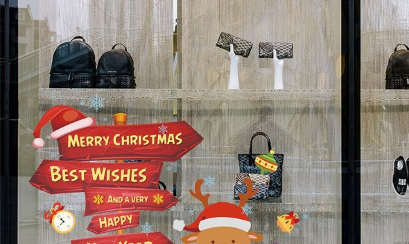 Merry Christmas Glass Window Wall Sticker Cartoon Deer New Year Decal Kids Room Bedroom Decor Wallpaper Kindergarten Home Design