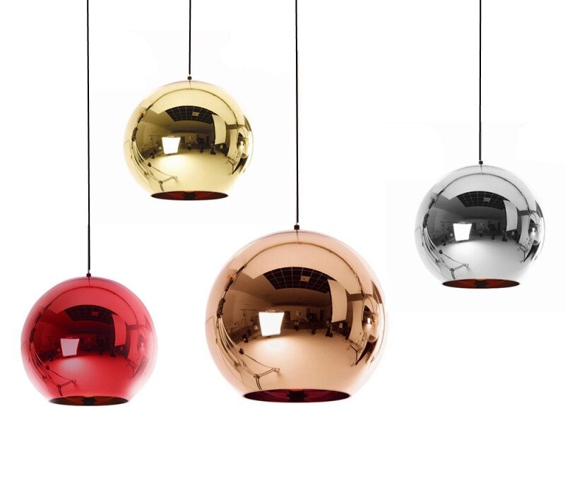 Wonderland Modern Copper Glass Ball Pendant Lights Shade Mirror Luminaire Christmas Home Design LED E27 Pendant Lamp Light