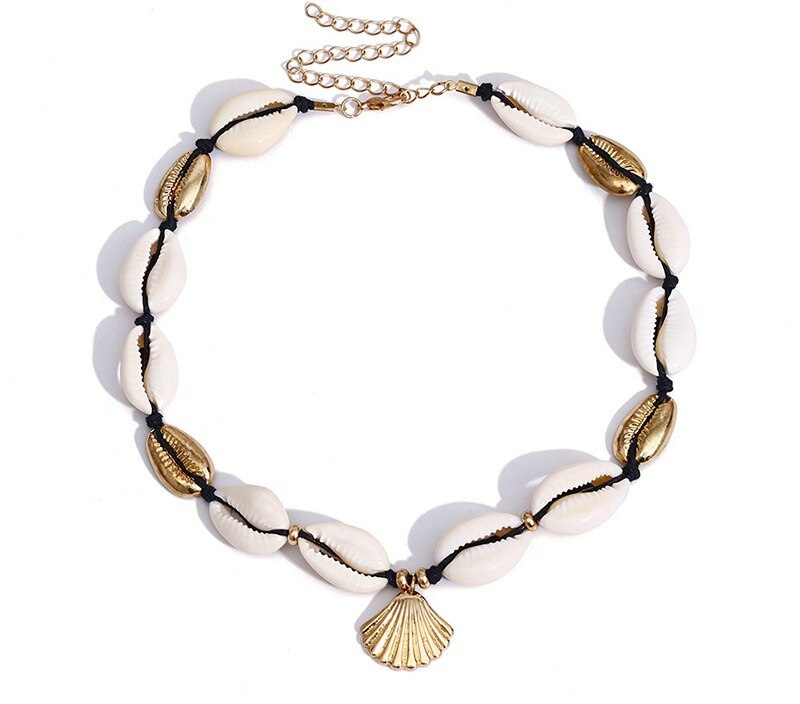 Sale Gold Silver Color Sea Shell  Bohemia Choker Necklace Handmade Adjustable Friendship Necklace for Women Summer Jewelry