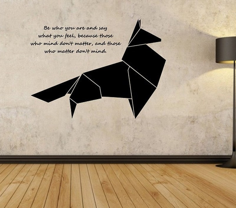 Origami Fox Wall Decal Geometric Animal Quotes Wall Sticker Bedroom Living Room Home Design Mural Vinilos Paredes Vinyl Art A386