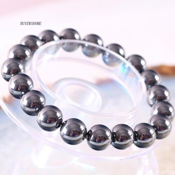 Weight Loss Black 10MM Round Bead Magnetic Therapy Bangle Health Care Magnetic Hematite Stretch Bracelet For Men Women H390