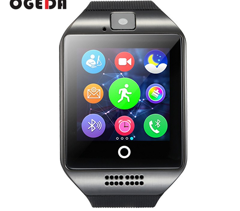 smart watch men Q18  Smart watch Clock with Touch Screen Camera TF card Bluetooth Smartwatch for Android IOS Phone Men Watch
