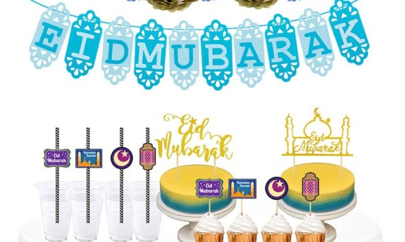 Ramadan Festival Decoration Ramadan Eid Mubarak Cake Sticks Insert Card Paper Straw Pull Flower Party Decoration