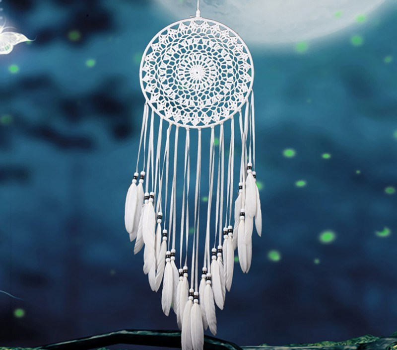 Home Design Handmade Dream Catcher With Rattan Bead Feathers Wall Car Hanging Decoration Ornament Dreamcatcher