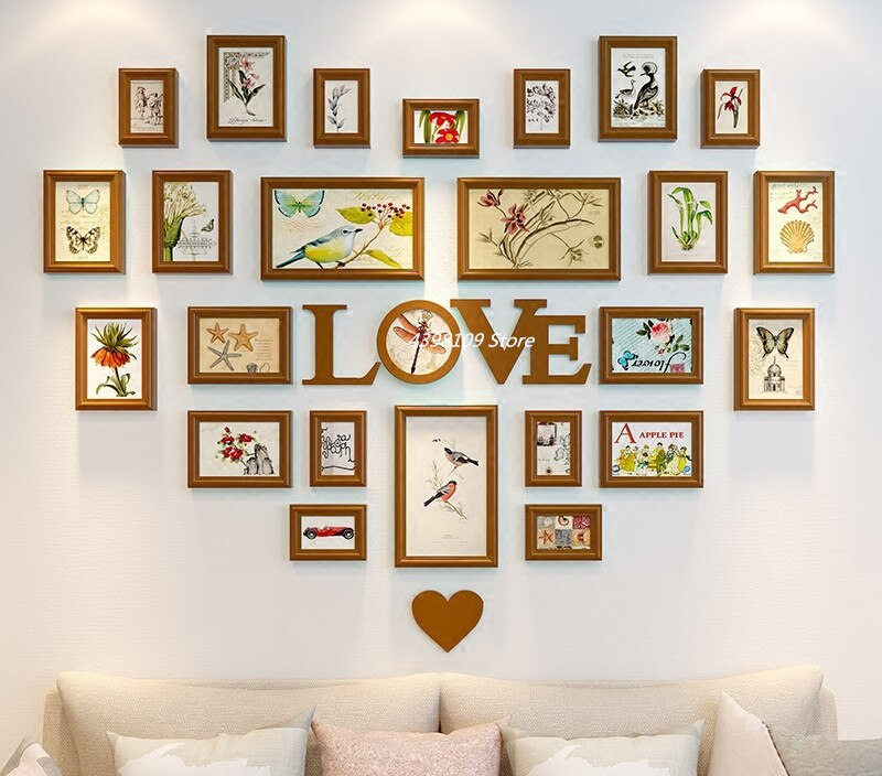 Home design wooden photo frame mural living room wall decoration photo wall wedding room decoration heart-shaped love style