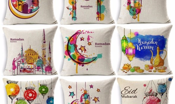 Ramadan Eid Mubarak Kareem Cushion Cover Watercolor Painting Moon Stars Lantern Mosque Cushion Covers Beige Linen Pillow Case